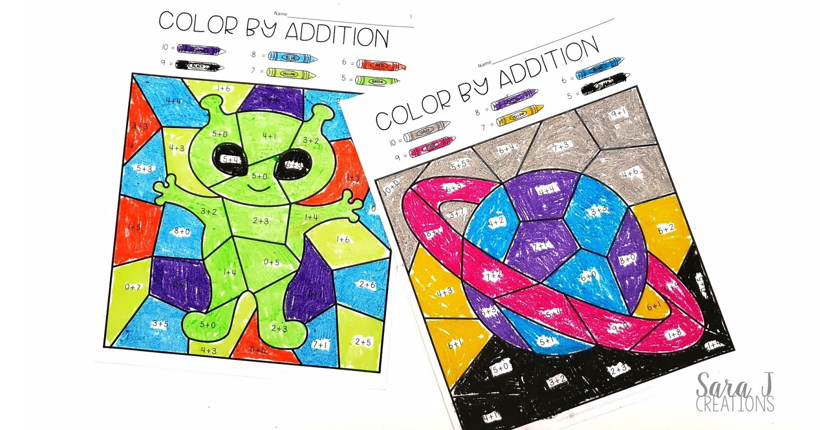 medium resolution of Color by Addition Free Space Themed Printable   Sara J Creations