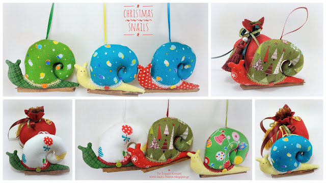 """Christmas snails"" Μπομπονιέρα βάπτισης Χριστουγεννιάτικο υφασμάτινο σαλιγκάρι σε κλωνάρι κανέλας"
