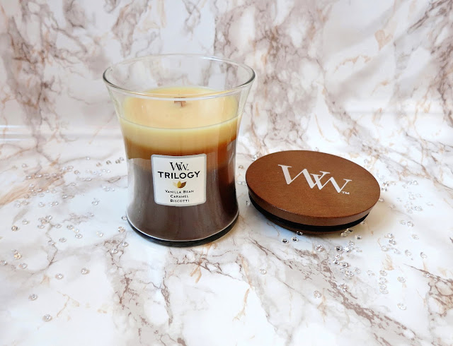 Woodwick Trilogy Cafe Sweets Vanilla Bean Caramal Biscotti Candle