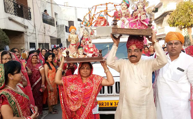 Ganagaur festival celebrated with fondness in Faridabad, devotees performed dance songs on devotional songs