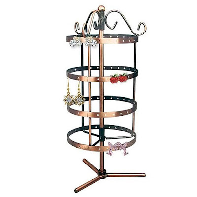 Metal Wire Rotating Earring Display Stand from Nile Corp holding multiple pairs of earrings