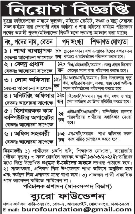 বুরো বাংলাদেশ এনজিও নিয়োগ বিজ্ঞপ্তি ২০২১ - Buro Bangladesh NGO Job Circular 2021 - এনজিও চাকরির খবর ২০২১