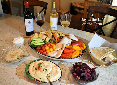 Mezze Platter and Wine