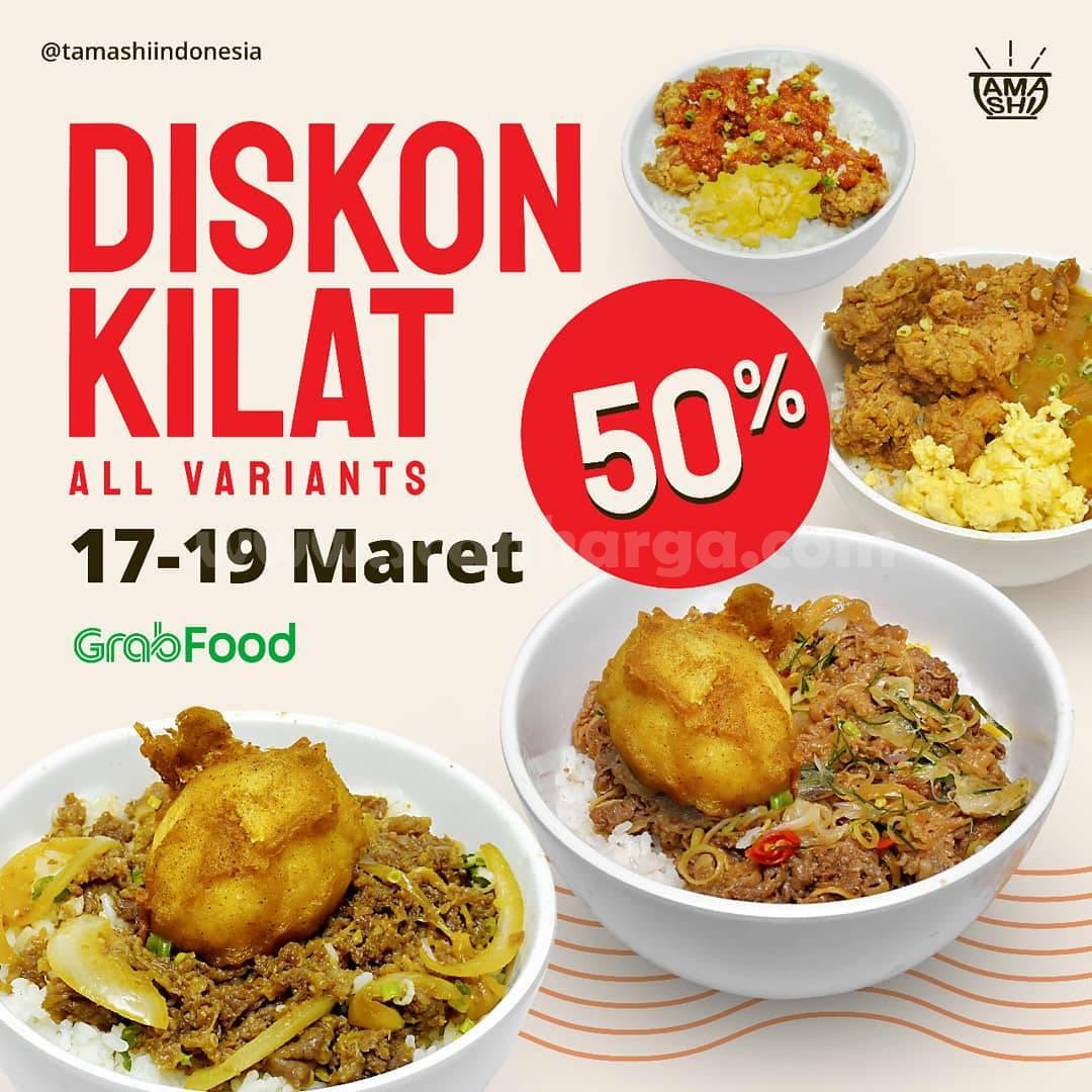 Promo TAMASHI Diskon Kilat 50% All Variant via aplikasi Grabfood