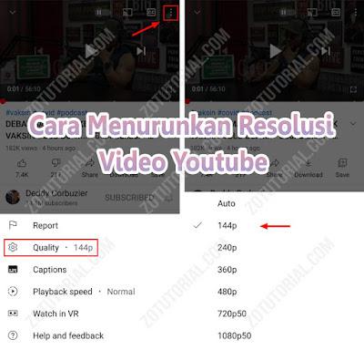 Cara Menurunkan Kualitas Video di Youtube agar stabil by zotutorial.com