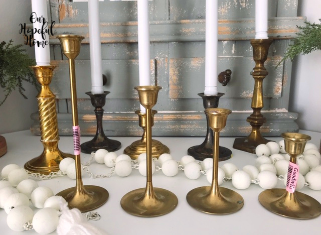 brass candlestick silver candlestick mantel decor electric taper candles
