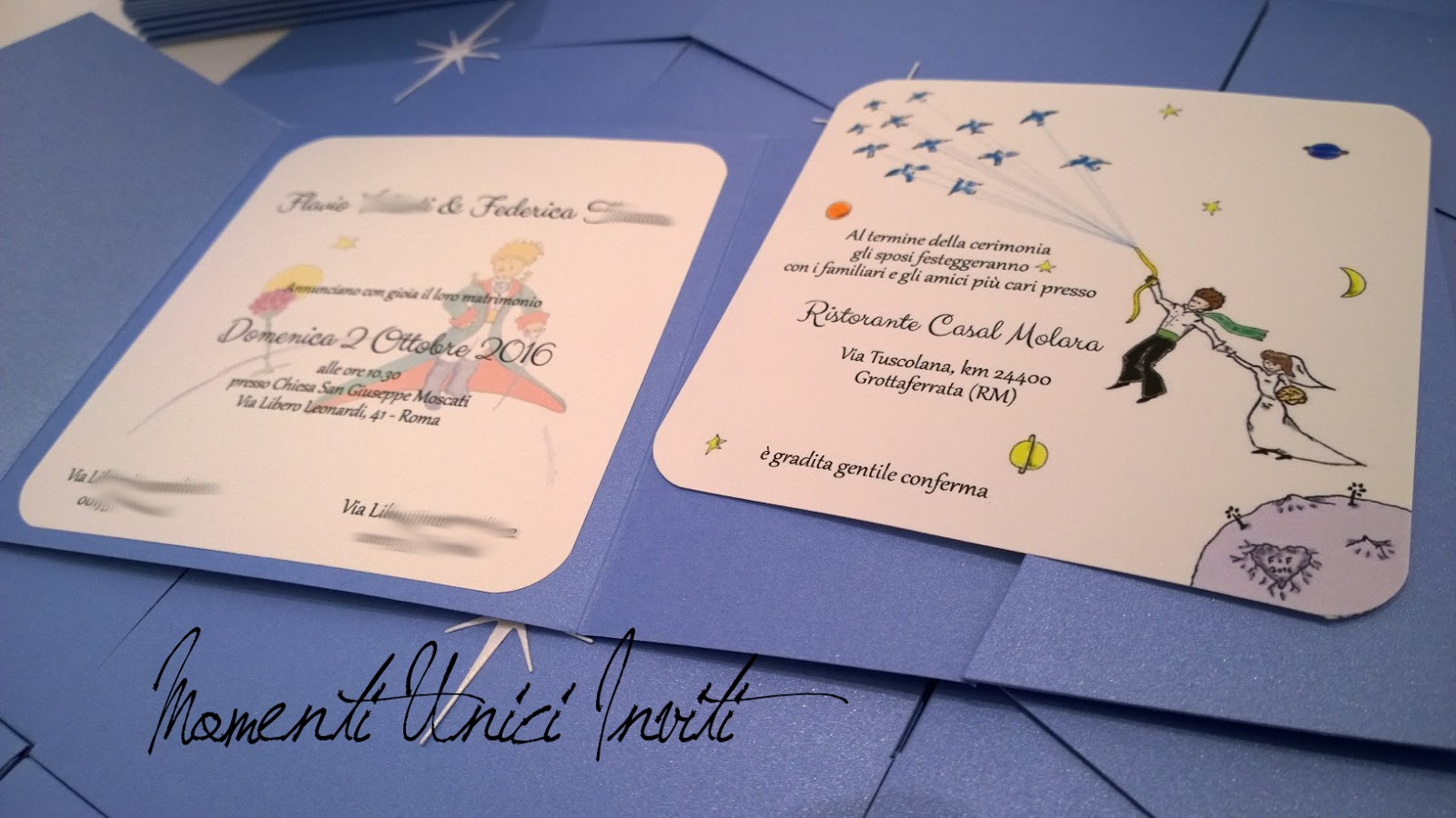 Partecipazioni Matrimonio Azzurro Polvere : Tema piccolo principe le partecipazioni di flavio e