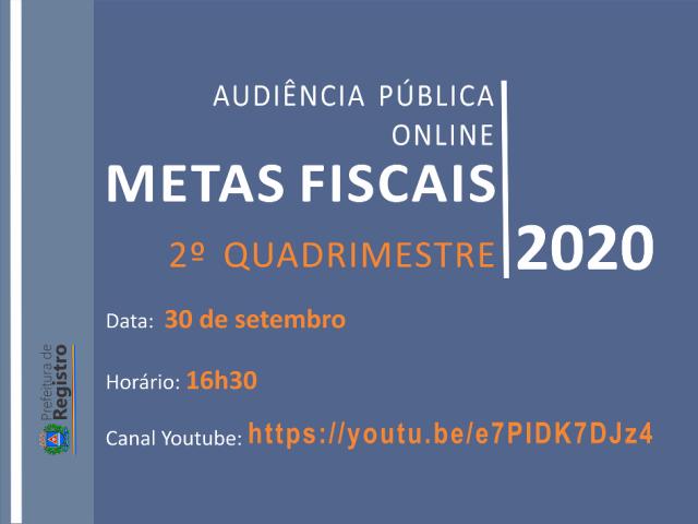 Audiência Pública Online sobre as Metas Fiscais será no dia 30/09