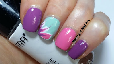 Drag Dry Marble Flower Nail Art