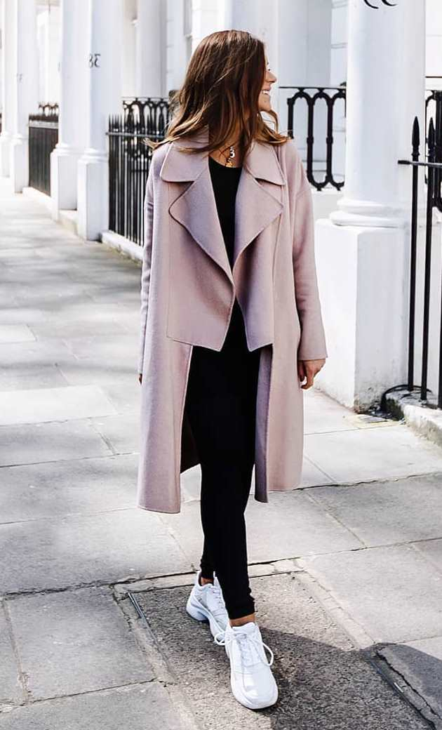 casual style obsession / blush coat + white sneakers + pants + top