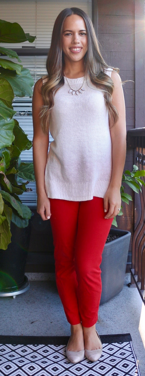 Jules in Flats - Sleeveless Sweater Tunic and Ankle Pants for Work