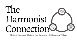 Graphic shows 3 small circles joined by a larger circle. The small circles have logos for Old Economy Village, Historic Harmony, and Historic New Harmony