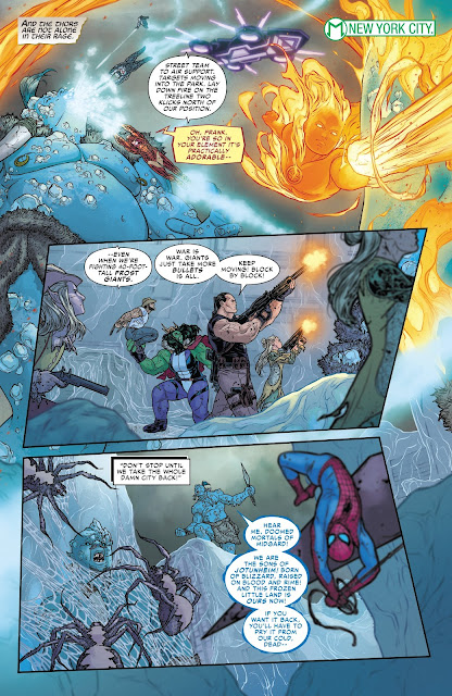 Ironman, Punisher, Spiderman, Wolverine, She-Hulk and other superheroes fighting the Frost Giants at New York in War of the Realms Issue #6 by Igor11 Comics.