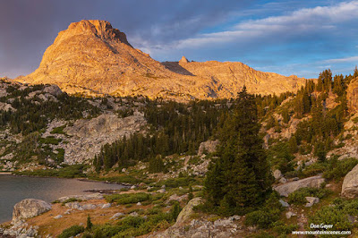 Elephant Head above Island Lake in the Wind River Range of Wyoming, USA.