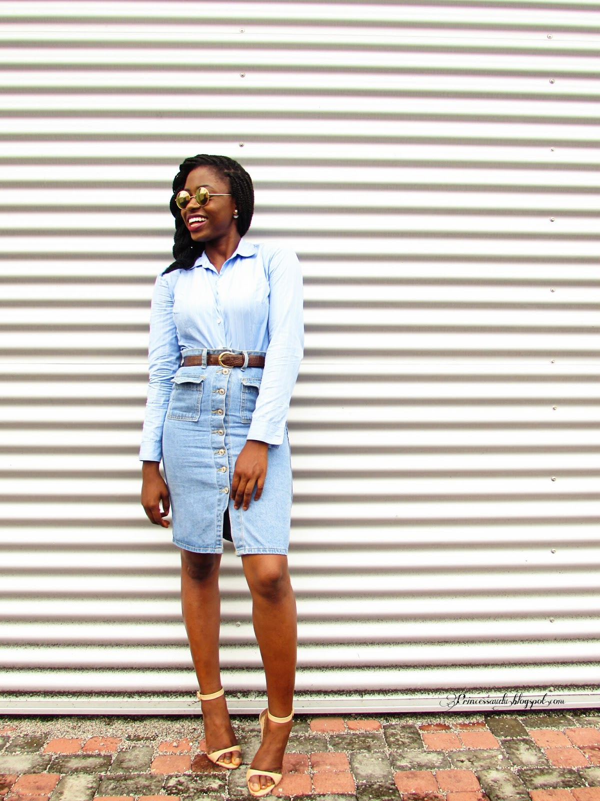 Denim skirt, pinstripes, sheinside, vintage, shades of blue