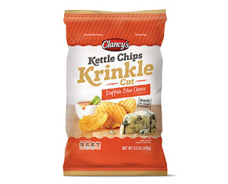 Stock image of Clancy's Buffalo Blue Cheese Krinkle Cut Kettle Chips, from Aldi