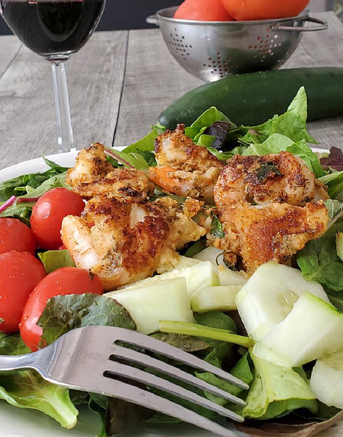 salad with cajun shrimp on top
