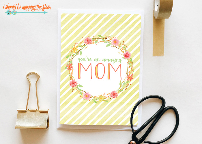 Yellow Striped Mother's Day Card
