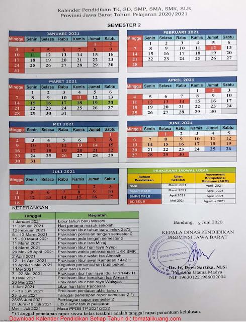 Kalender Pendidikan TK, SD, SMP, SMA, SMK Provinsi Jawa Barat Tahun Pelajaran 2020/2021; kalender pendidikan jawa barat 2020/2021 semester 2; tomatalikuang.com