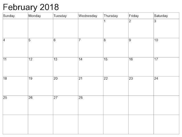 February 2018 Calendar, February 2018 Calendar Printable, February 2018 Calendar Template, Blank February 2018 Calendar, Free February 2018 Calendar, February Calendar 2018