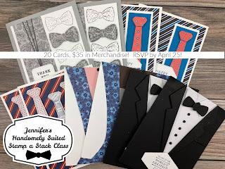 Stamp a Stack!  Handsomely Suited by Stampin' Up!.  RSVP by April 25.  20 cards, $25 in merch!  #StampTherapist #StampinUp #HandsomelySuited