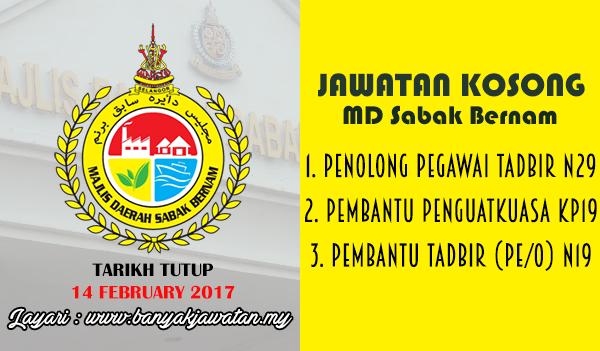 Jawatan Kosong Terkini 2017 di Majlis Daerah Sabak Bernam (MDSB) www.banyakjawatan.my