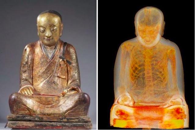 مسح تمثال لبوذا عمره 1000 عام لاكتشاف مومياء