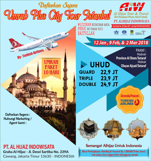 Paket Umroh Plus Istanbul Turki 2018 Mulai Rp. 22,9 Jt !