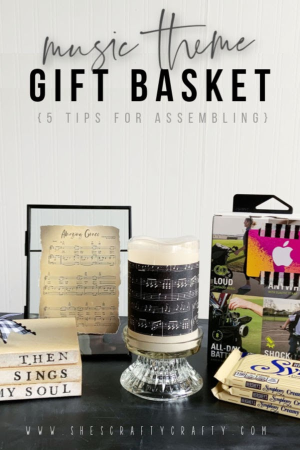 Music Theme Gift Basket  |  5 tips for assembling a Music Theme Gift Basket or Basket for Silent Auction  |   She's Crafty