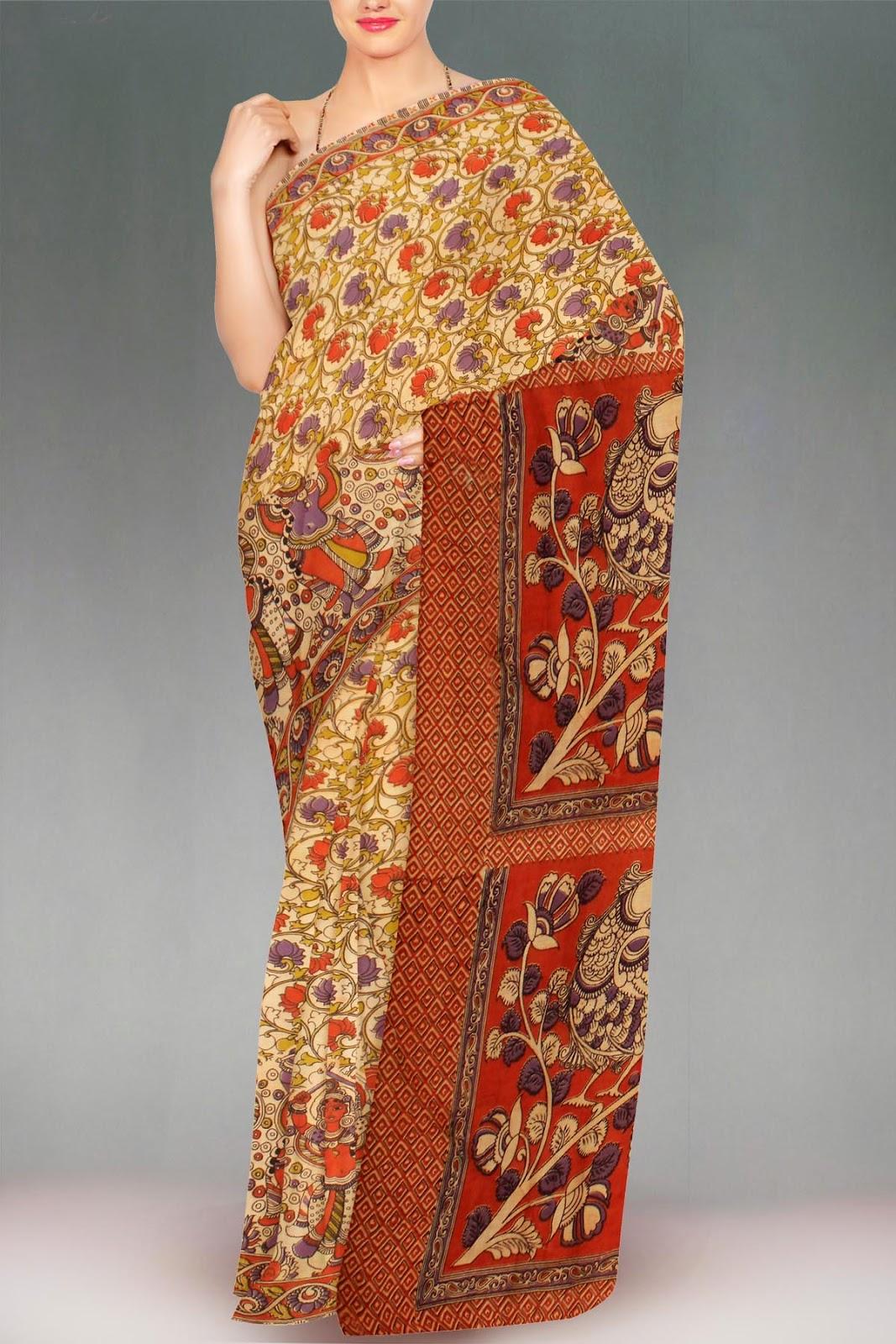571282e79218b Kalamkari – life-like depictions on fine handloom sarees.
