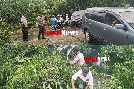 Personel Sabhara Polres Takalar Bersama Warga Bersihkan Pohon Tumbang
