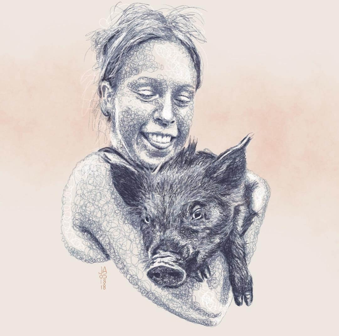 04-No-Name-and-her-little-Pig-Jennifer-Ackerman-Digital-Art-Scribble-Drawing-Portraits-www-designstack-co