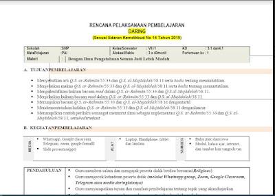RPP Daring Pendidikan Agama dan Budi Pekerti Kelas 7 Semester 1/Ganjil