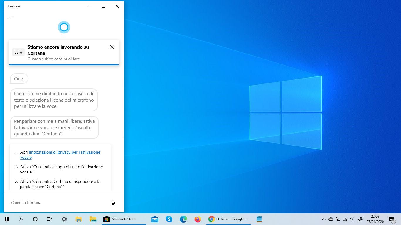 Cortana in più lingue disponibile in Windows 10 Versione 2004