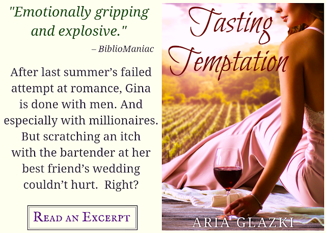 "Image featuring book cover of Tasting Temptation as well as text: ""Emotionally gripping and explosive."" —BiblioManiac; After last summer's failed attempt at romance, Gina is done with men. And especially with millionaires. But scratching an itch with the bartender at her best friend's wedding couldn't hurt. Right? Read an Excerpt"
