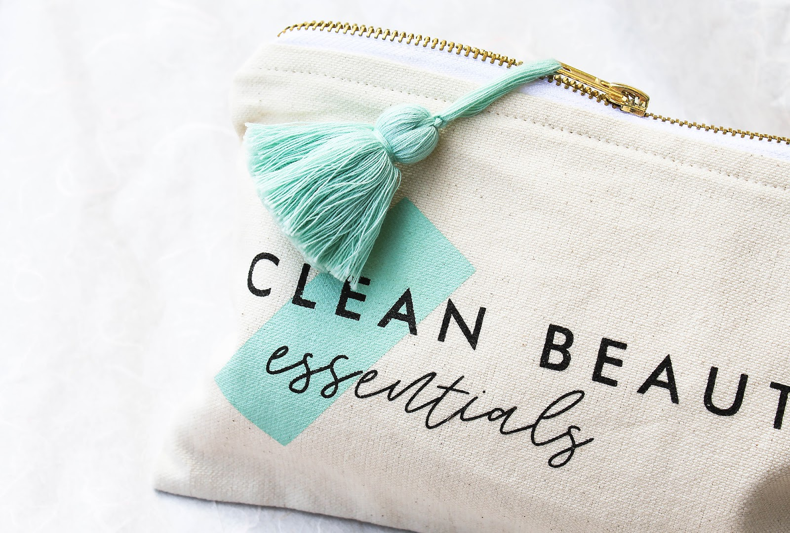 May Art of Organics Clean Beauty Box Clean Beauty Essentials. JET SET. Piece & Co Organic Cotton Travel Pouch. Handcrafted in India.