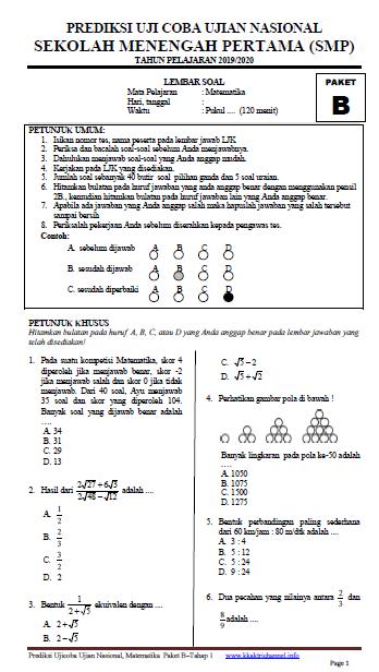 Soal UCUN Matematika SMP Tahun 2020 Paket B