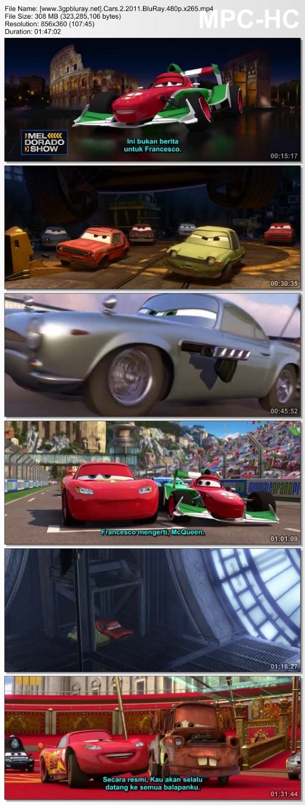 Screenshots Download Cars 2 (2011) BluRay 480p & 3GP Subtitle Indonesia
