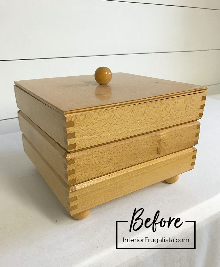 Stacking Wooden Trinket Box Before Makeover