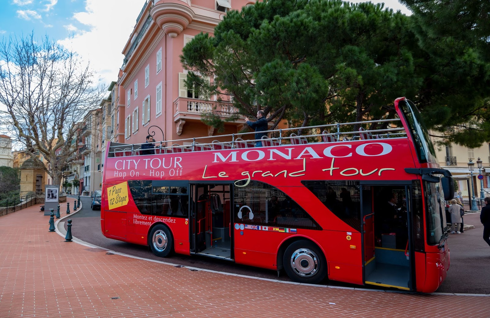 Monaco Le Grand Tour hop-on hop-off bus parked in Monaco City