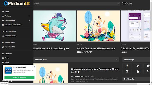Medium Ui Website Template - Free Blogger Templates