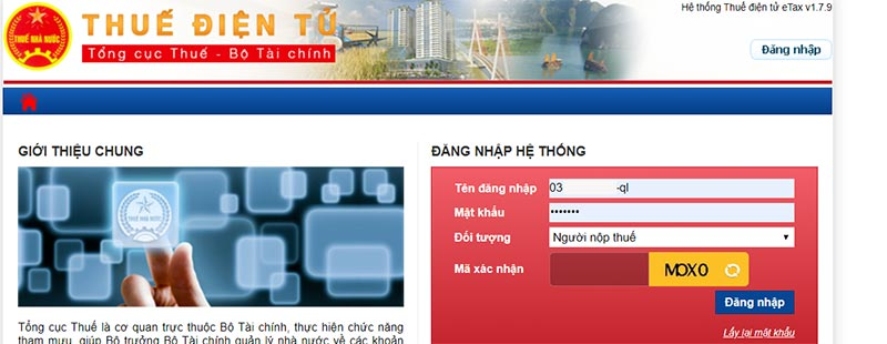 Hình 5 - Nhập thông tin đăng nhập trên trang Thuế điện tử