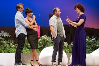 Todo el elenco de El test [Teatro Alcázar], de izquierda a derecha: Luis Merlo, Itziar Atienza, Antonio Molero y Maru Valdivielso
