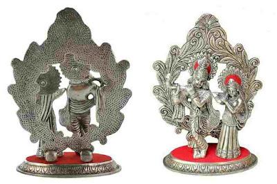 GREEN TOUCH CRAFTS Metal Lord Radha Krishna God Idol Statue