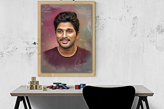 Telugu Tollywood StylishStar AlluArjun Photo Portrait Paintng Canvas in Hyderabad | Mixed Media Painting - Digital Portrait Painting - Graphic Painting