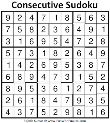 Consecutive Sudoku (Fun With Sudoku #86) Solution