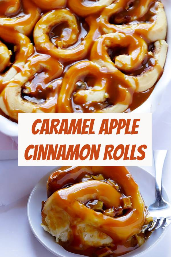 Caramel Apple Cinnamon Rolls Recipe | My cinnamon rolls have the most awesome, bread shop style rich flavor! These apple cinnamon rolls are the ideal fall treat! #desserts #fall #breakfast #cinnamonrolls