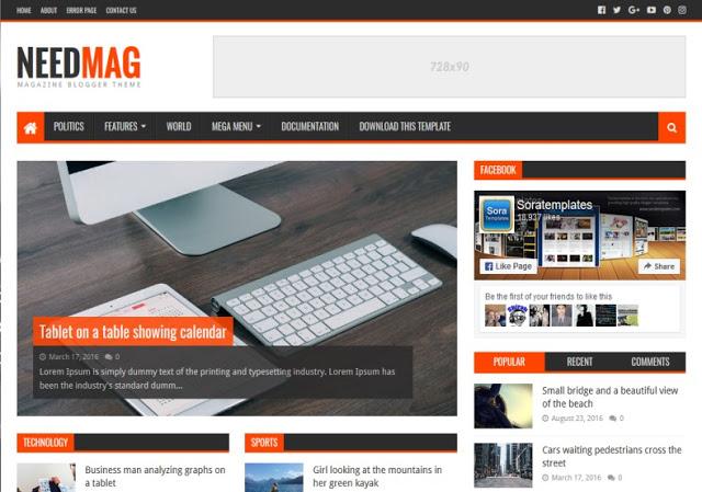 NeedMag mobile friendly blogger template