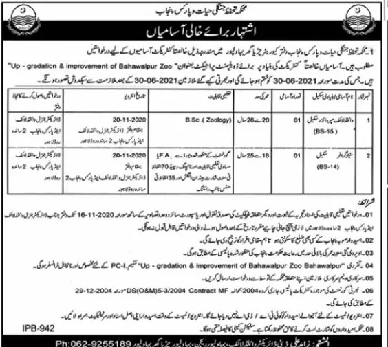 Punjab Wildlife & Parks Department Jobs 2020  PWPD Latest Jobs