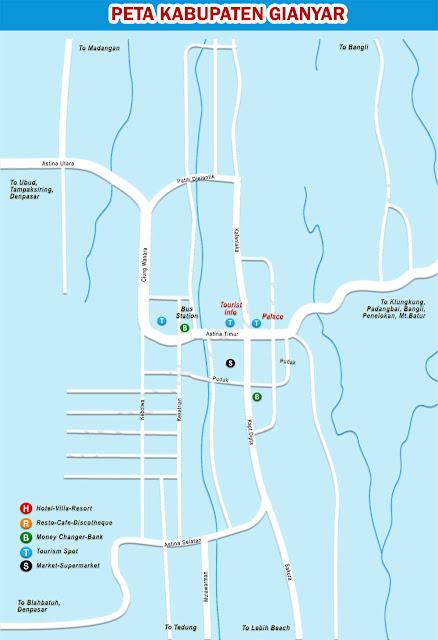 Gambar Peta Wisata Kabupaten Gianyar Bali